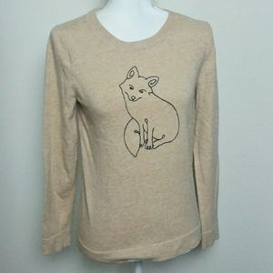 J. Crew Factory Embroidered Fox Sweater Small